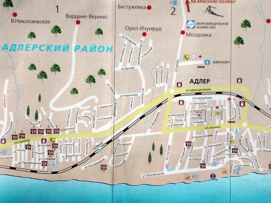 Карта Сочи: адлерский район.